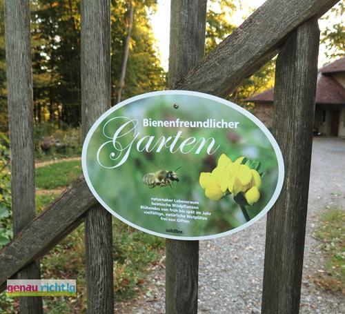 Schild Bienenfreundlicher Garten Genau Richtig
